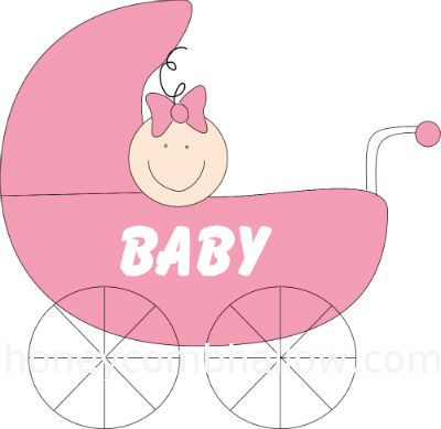 Baby shower clipart girl illustration