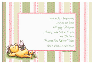 pooh baby shower cards
