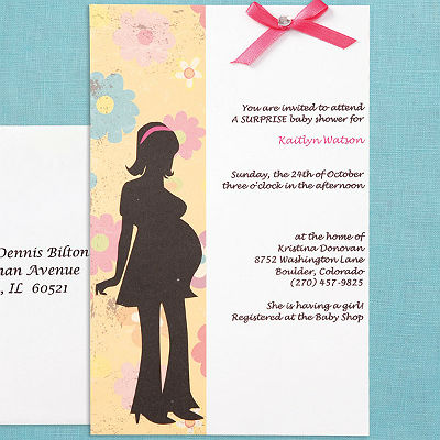 Baby shower invitation kit this modern mom kit comes with everything you need including ribbons and gems the blank pages allow you to customize your wording with your home printer filmwisefo